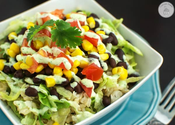 Burrito Bowls with Light Tomatillo Ranch Dressing