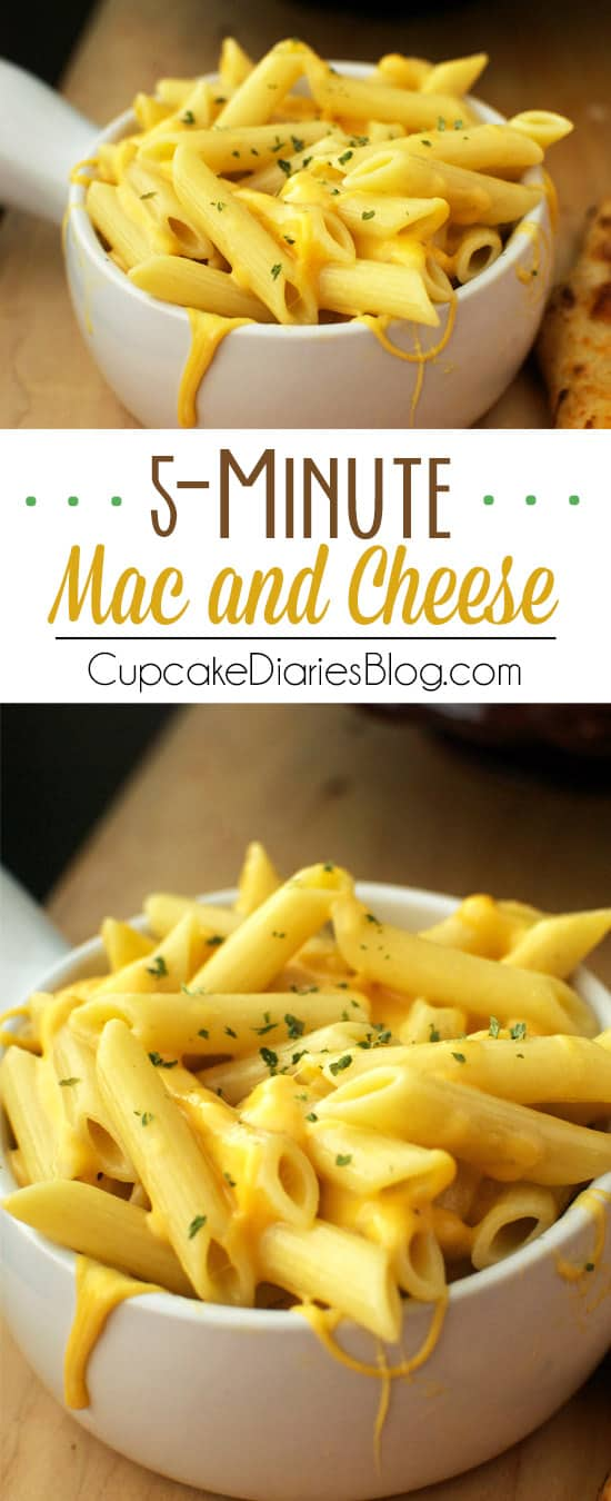 Ooey, gooey, and extra cheesy mac and cheese that only takes 5 minutes, after cooking the pasta!