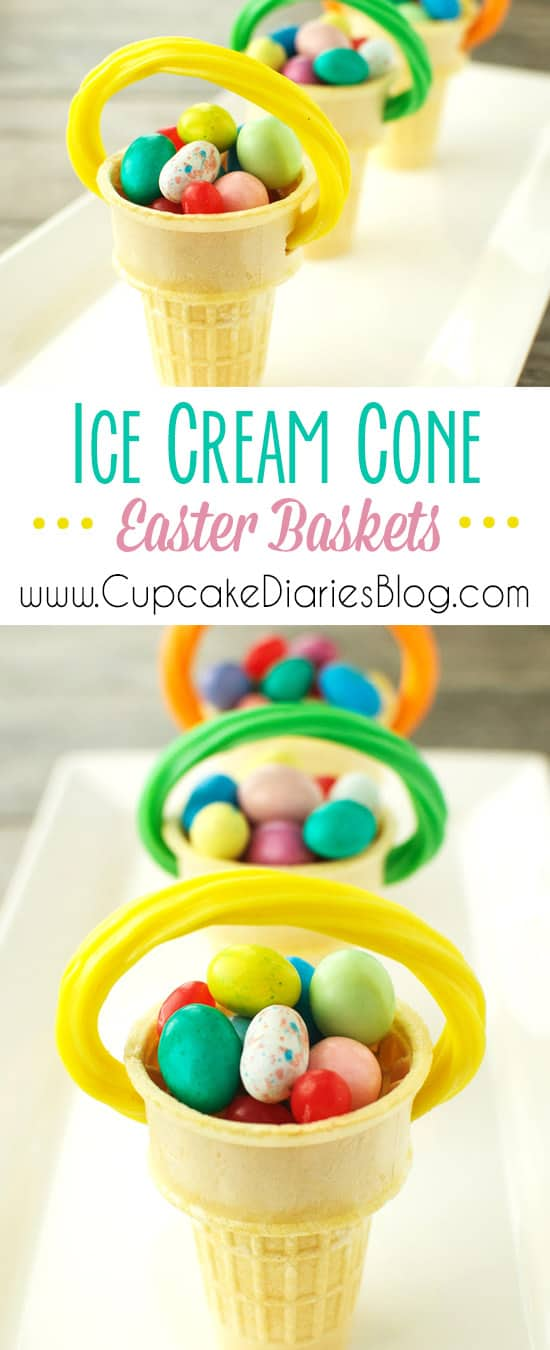 Ice Cream Cone Easter Baskets are the perfect treat for an Easter party or as Easter dinner place settings!
