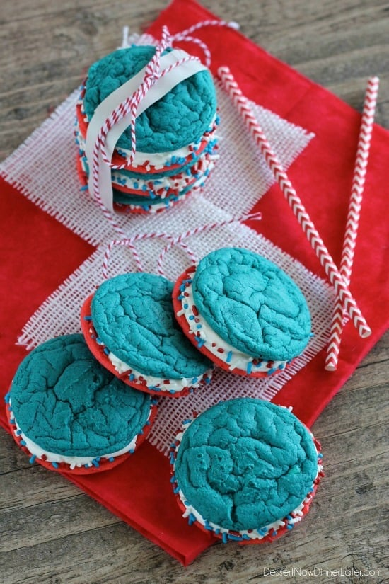 Red, White and Blue Whoopie Pies