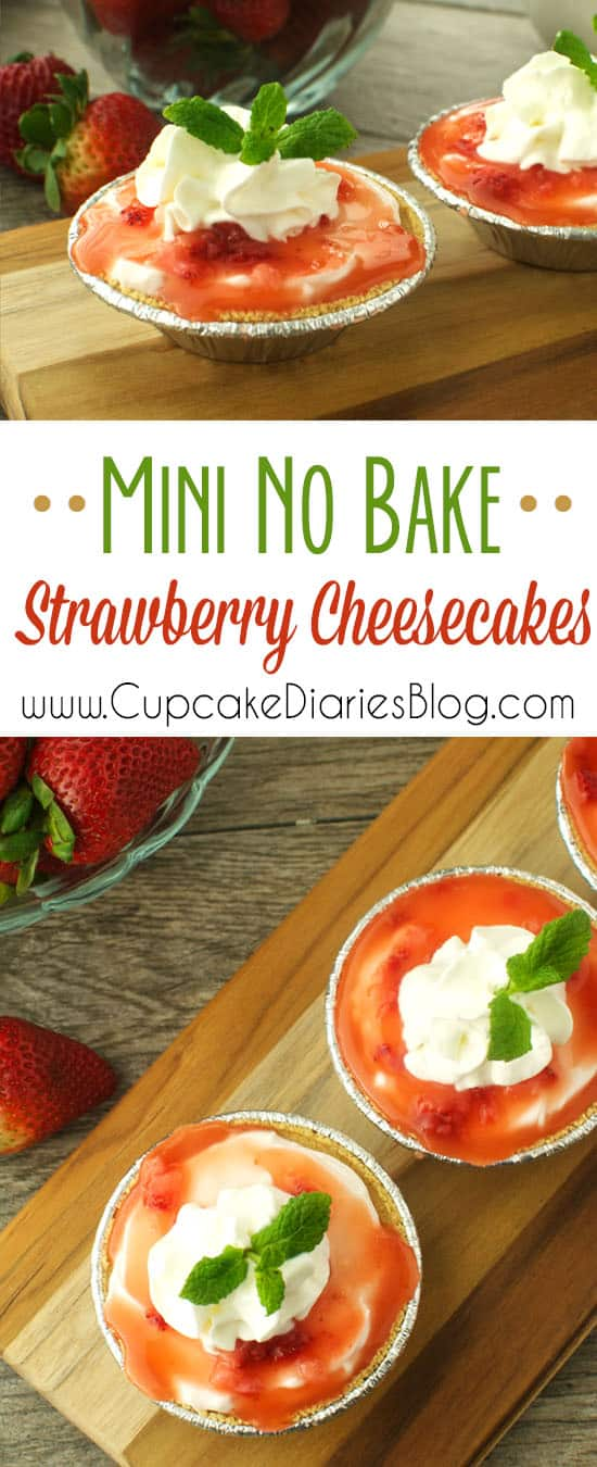 No bake strawberry cheesecakes over mini graham cracker crusts and topped with a strawberry sauce and whipped topping. The perfect size desserts for individual servings!