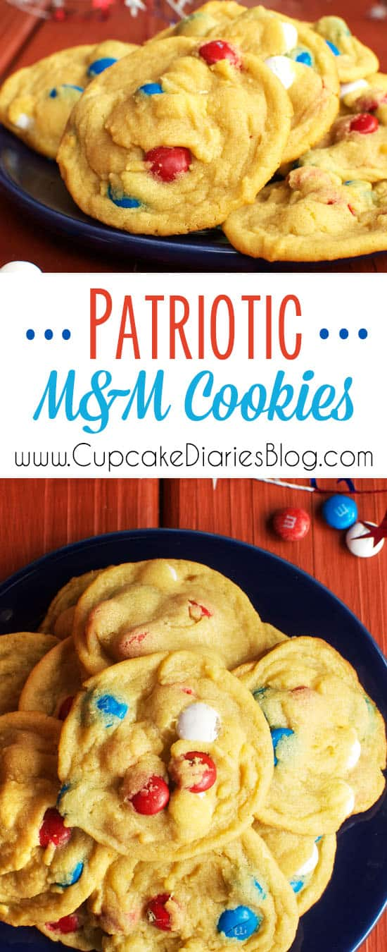 Patriotic M&M Cookies - Perfectly chewy cookies are baked with an abundance of patriotic M&M's instead of chocolate chips. These tasty cookies will be the best you eat all summer!.