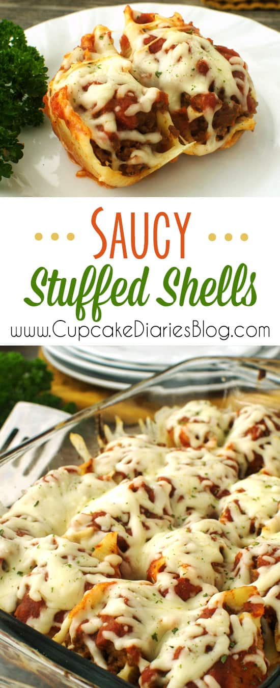 Saucy Stuffed Shells - Stuffed shells are a great way to serve spaghetti in a unique way. The whole family will love these shells!