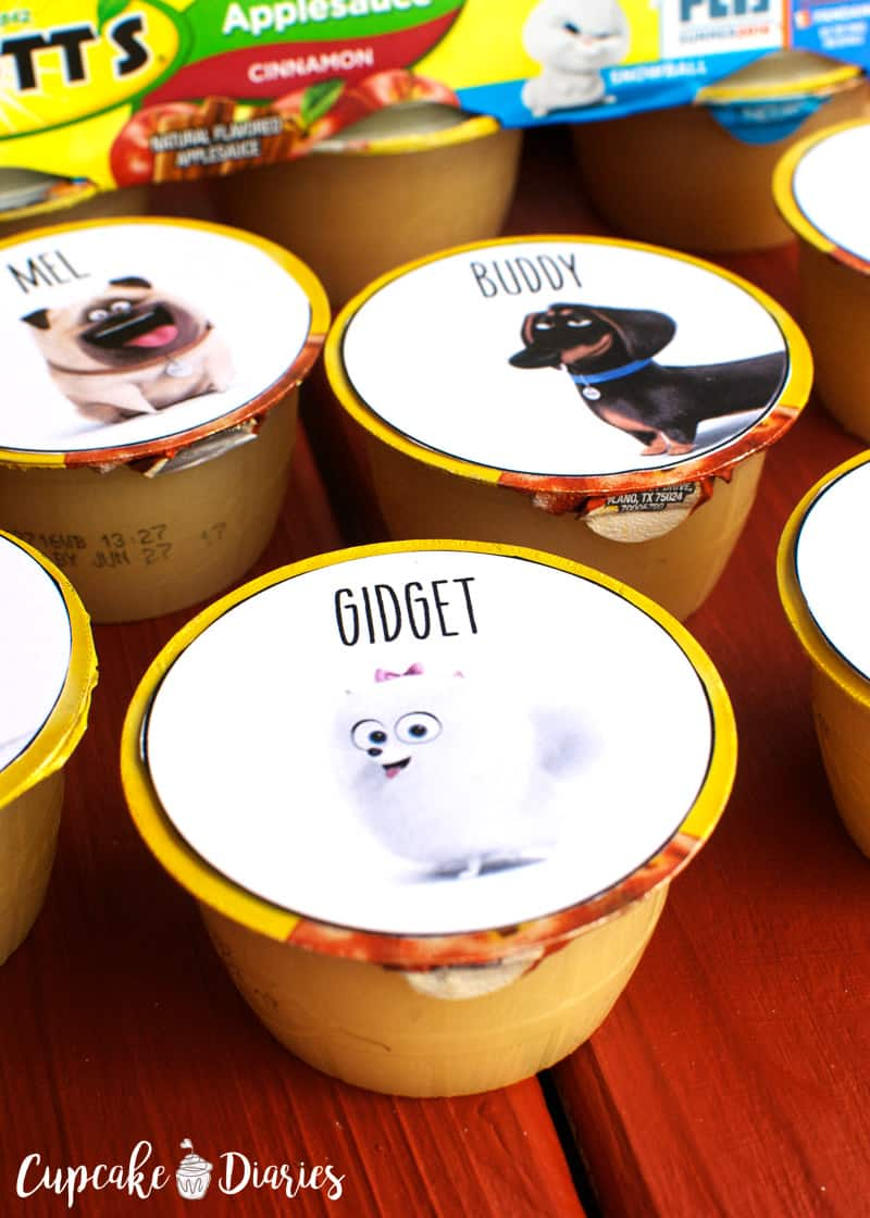 """The Secret Life of Pets"" Printable Applesauce Cup Toppers"