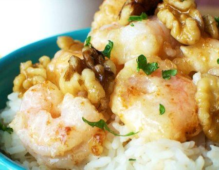 Honey Walnut Shrimp and Rice