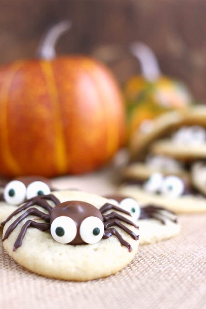 halloween sugar cookie and caramel spider cookies