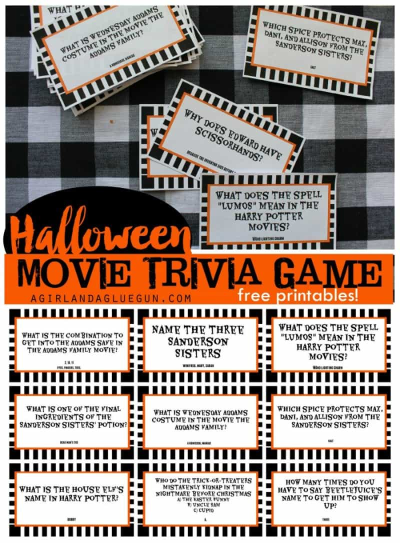 Printable Halloween Movie Trivia Game - 30 Days of Halloween