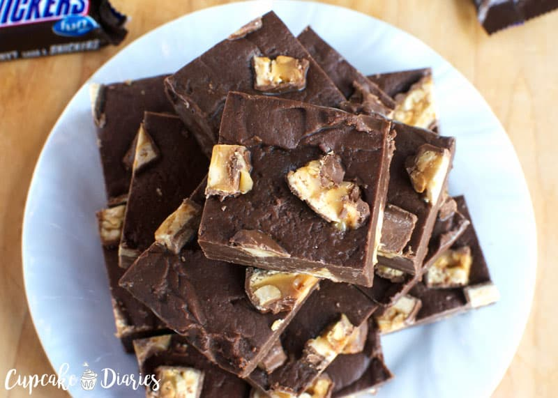 Three Ingredient Snickers Fudge