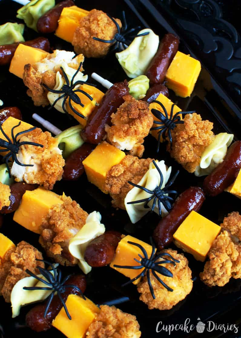 halloween chicken and pasta skewers