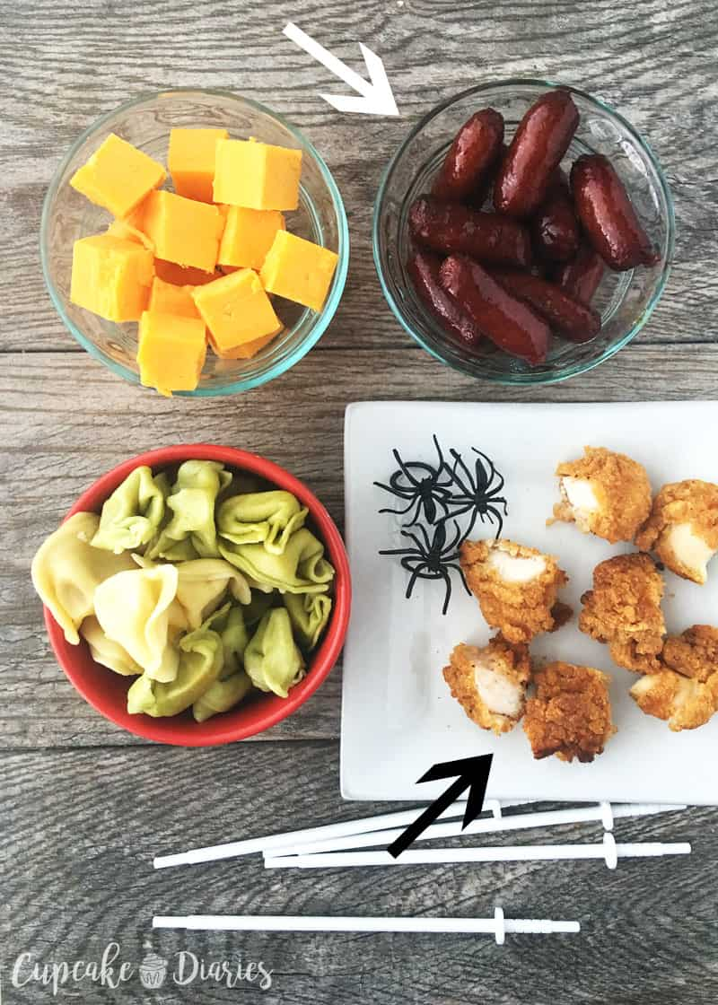 Halloween Chicken and Pasta Skewers