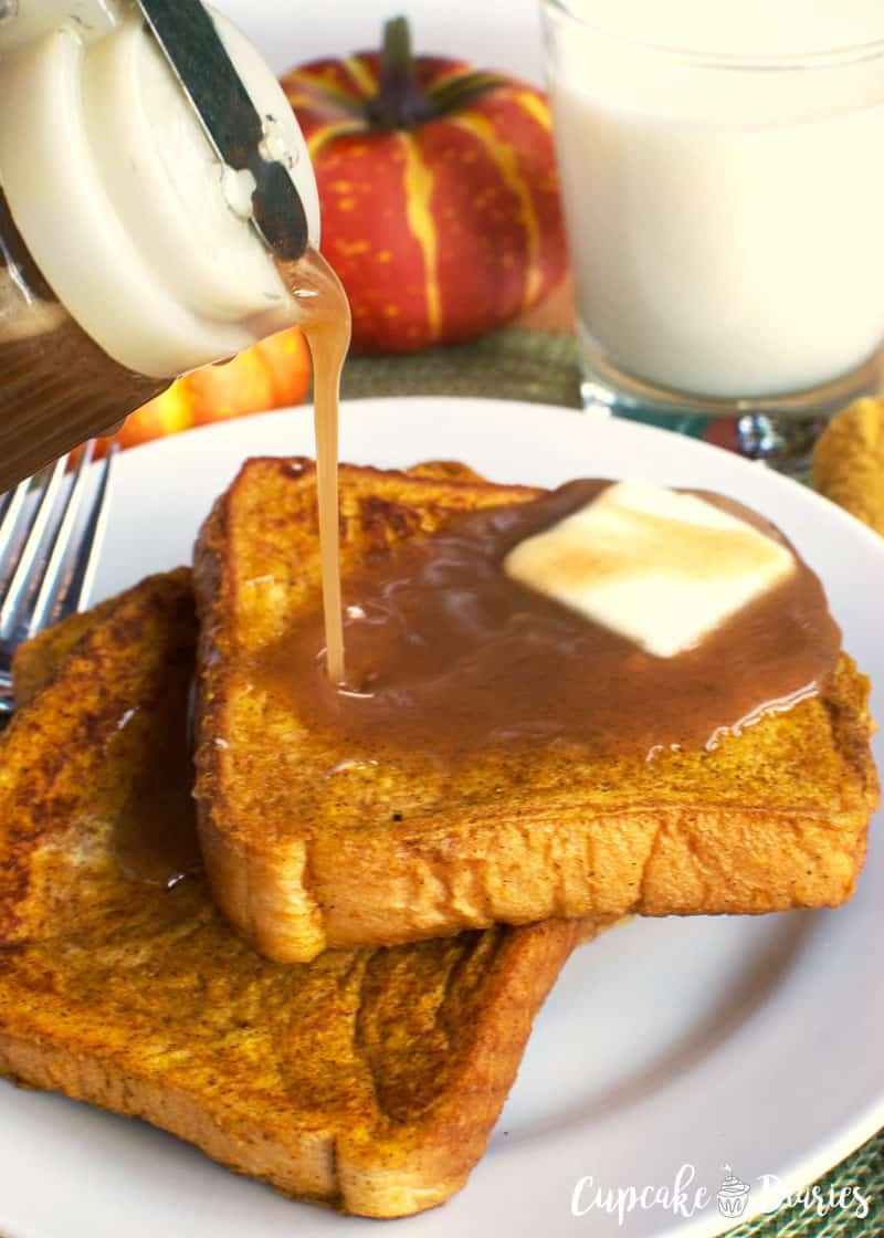 Pumpkin French Toast with Cinnamon Syrup