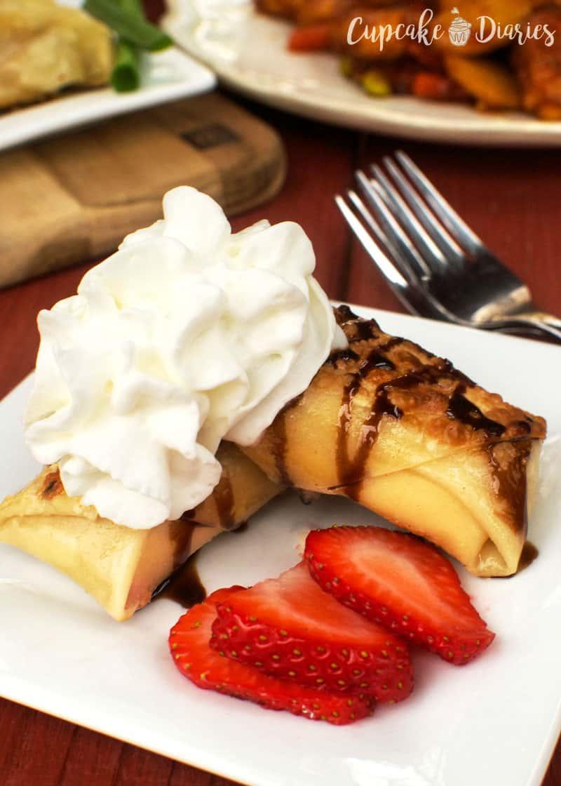 Strawberry Cheesecake Stuffed Egg Rolls