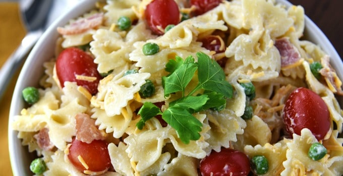 Bacon Ranch Pasta Salad with Barber Foods Broccoli Cheese Stuffed Chicken Breasts