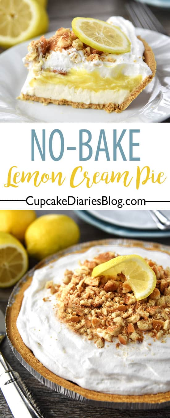 No-Bake Lemon Cream Pie - This five-layer lemon dessert is easy to make and perfect for spring and summer!