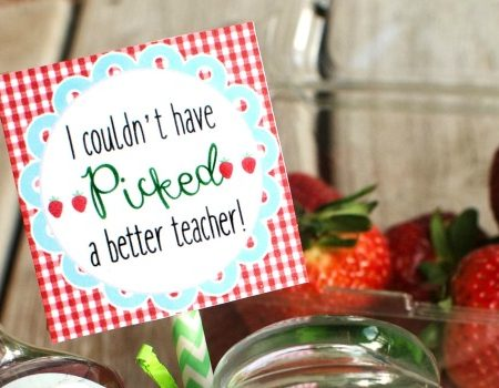Strawberry Teacher Gift with Free Printable Tag