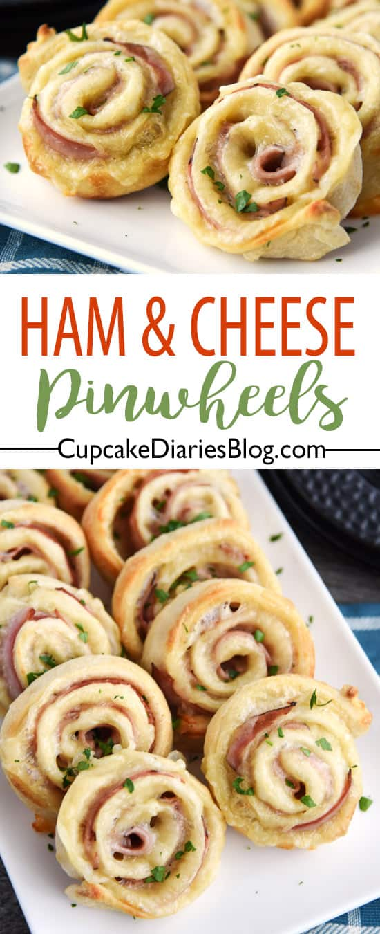 Easy Ham and Cheese Pinwheels - A ham and cheese sandwich rolled up into a fun pinwheel! They're easy to make and fun to eat.