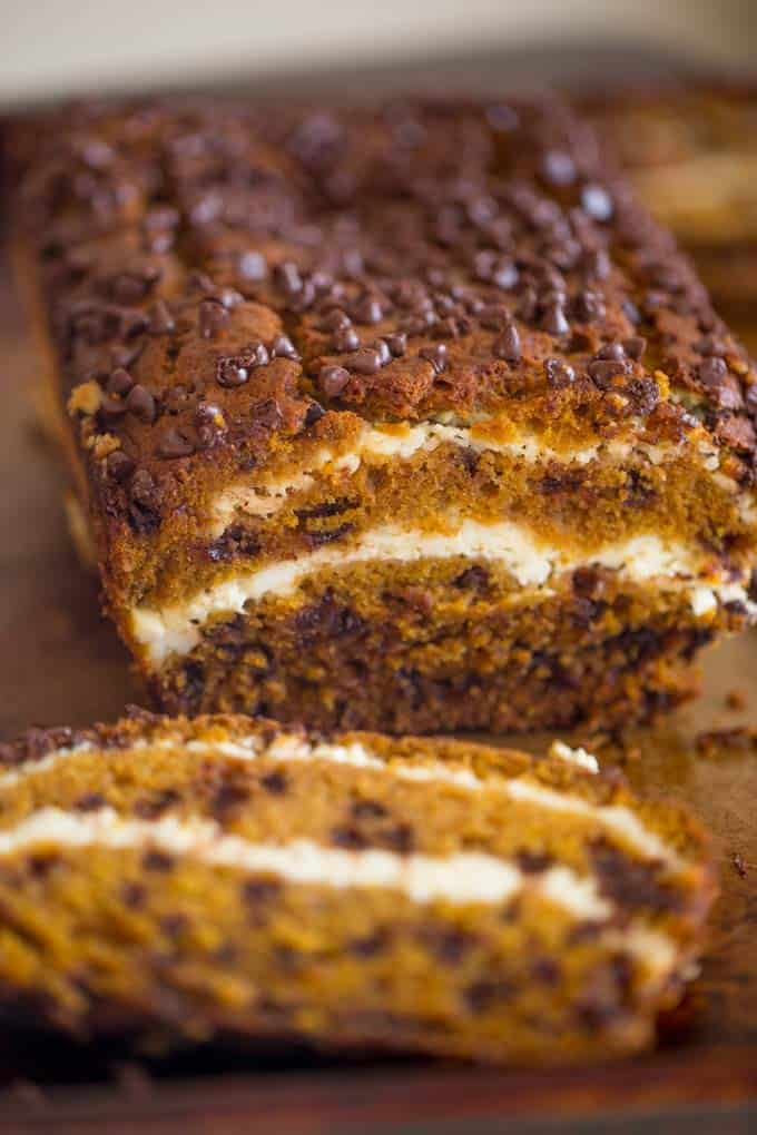 Chocolate Chip Pumpkin Cream Cheese Bread