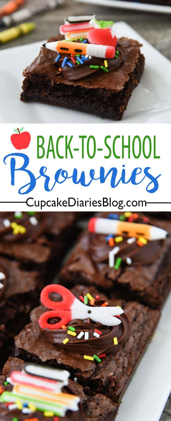 Back-to-School Brownies - Perfectly soft and chewy brownies decorated with delicious chocolate frosting and school themed sugar decorations. A perfect dessert for a new school year!