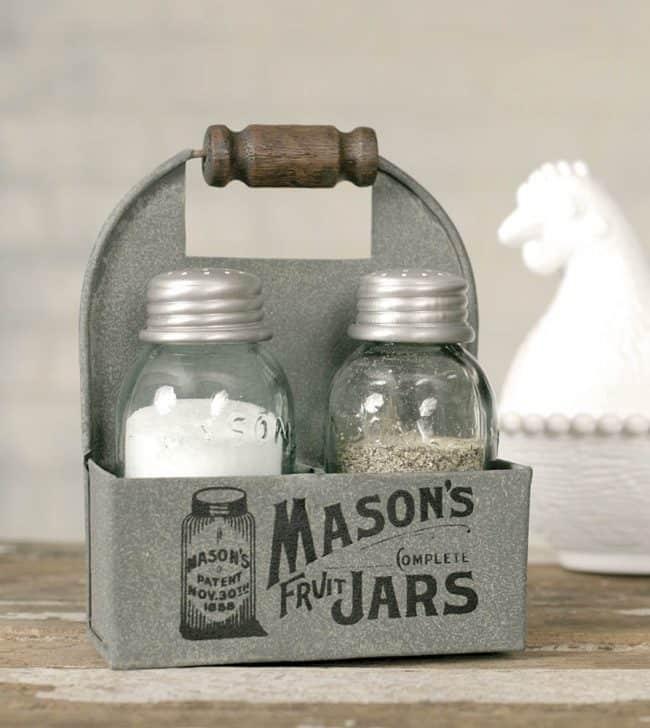 Mason Jars Salt and Pepper Caddy