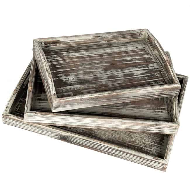 Country Rustic Torched Wood Serving Trays