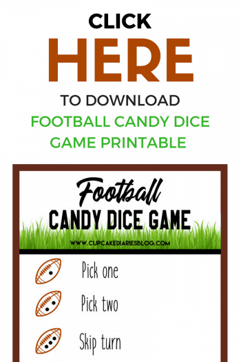 Football Candy Dice Game - The kids are going to love playing this Football Candy Dice Game during the Super Bowl or at a football themed birthday party!