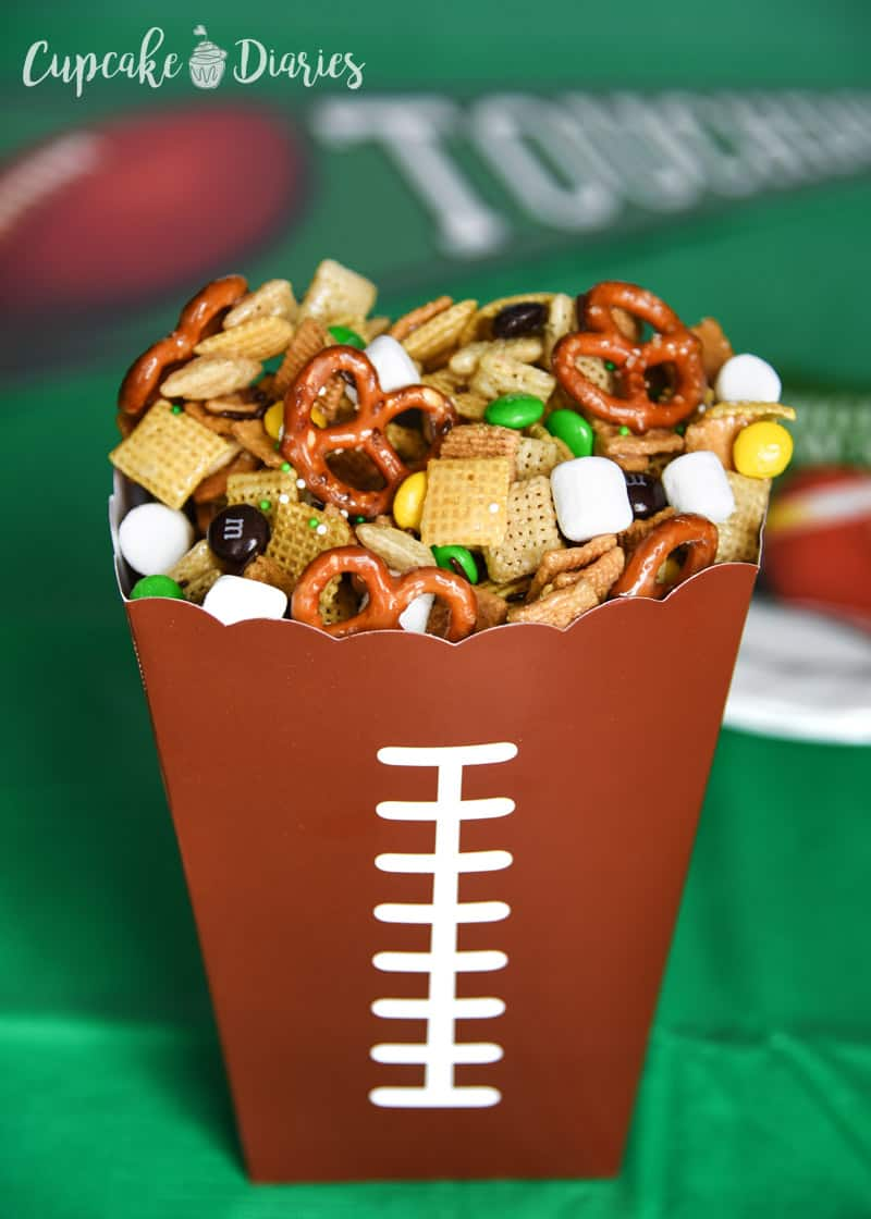 Football Chex Treat - Your game day party needs a sweet and salty treat! Football Chex Treat is the perfect game viewing snack for the whole family.