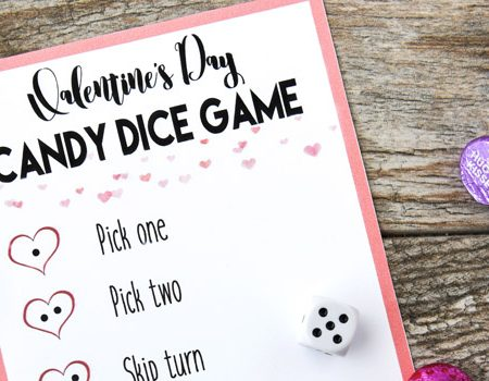 Valentine's Day Candy Dice Game - A perfect game to play during a classroom party or at home with the family!