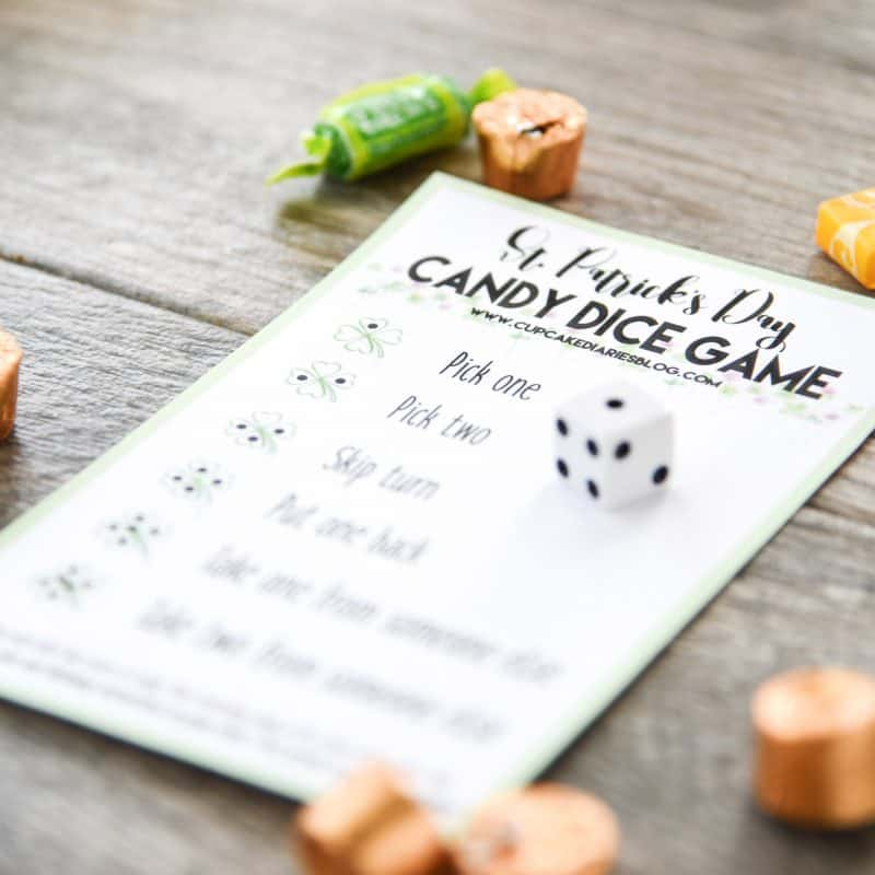 The kids are going to love celebrating St. Patrick's Day with a candy dice game! So easy and fun for kids of all ages.
