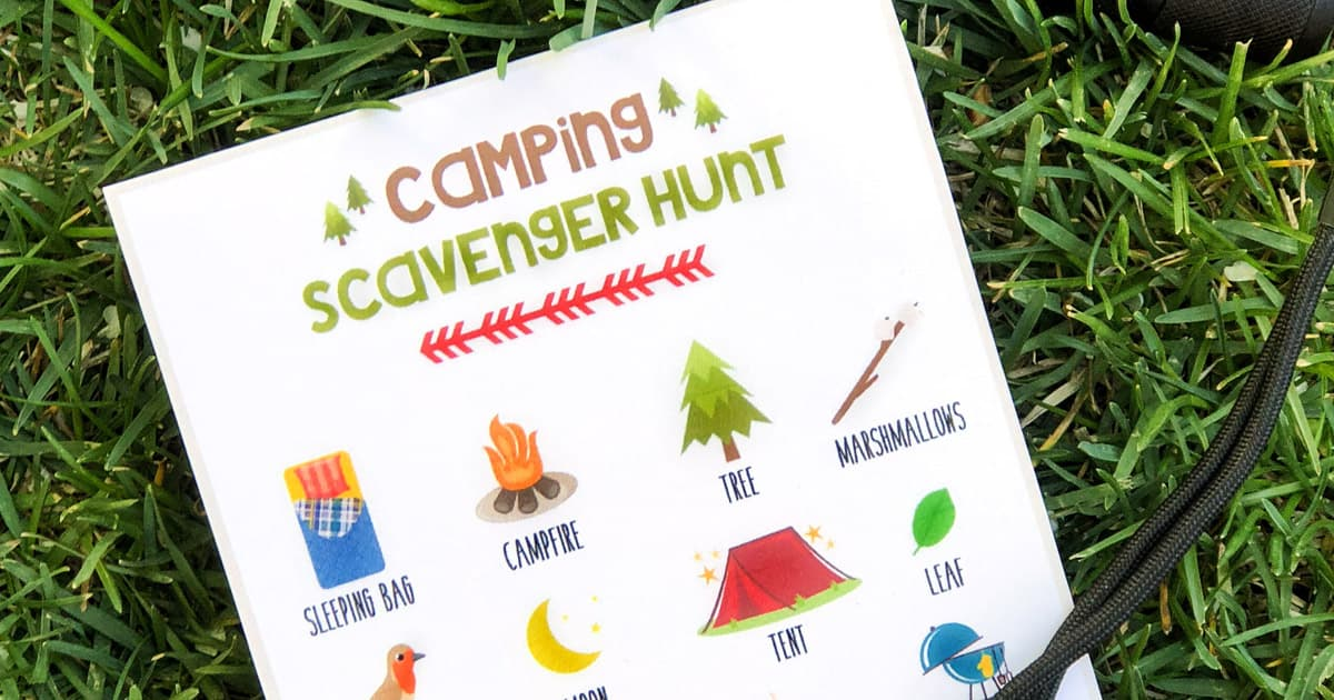 graphic about Camping Scavenger Hunt Printable identified as Tenting Scavenger Hunt