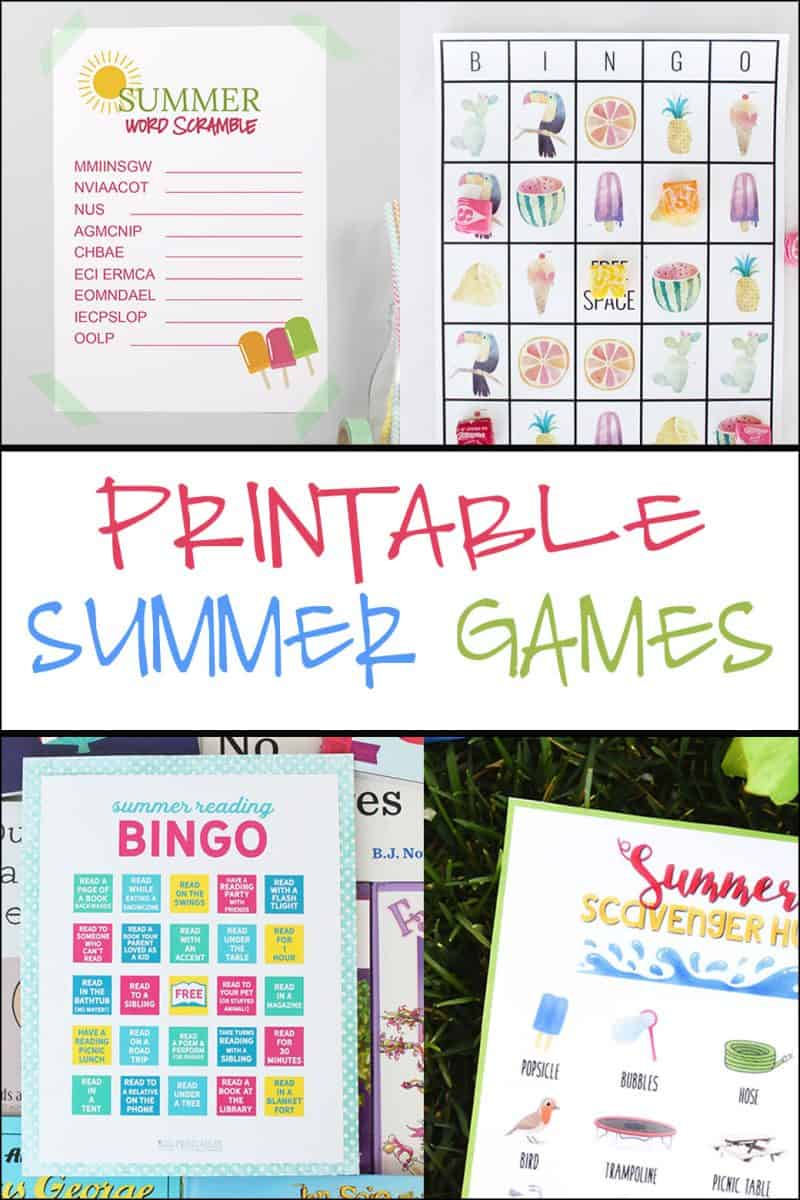 Printable Kids Games for the Summer