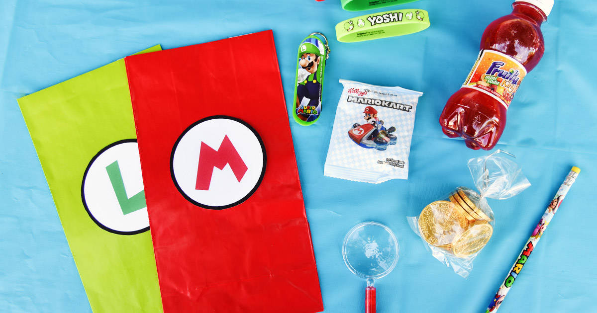 Super Mario Bros Birthday Party Goody Bags With Free