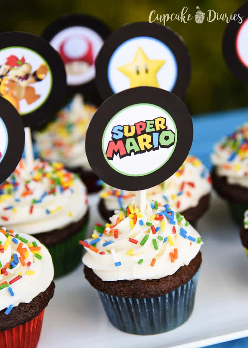 picture relating to Printable Cupcake identified as Tremendous Mario Bros. Cupcakes with Absolutely free Printable Toppers