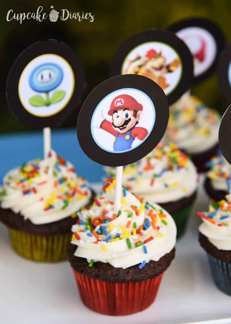 photo regarding Printable Cupcakes named Tremendous Mario Bros. Cupcakes with Free of charge Printable Toppers