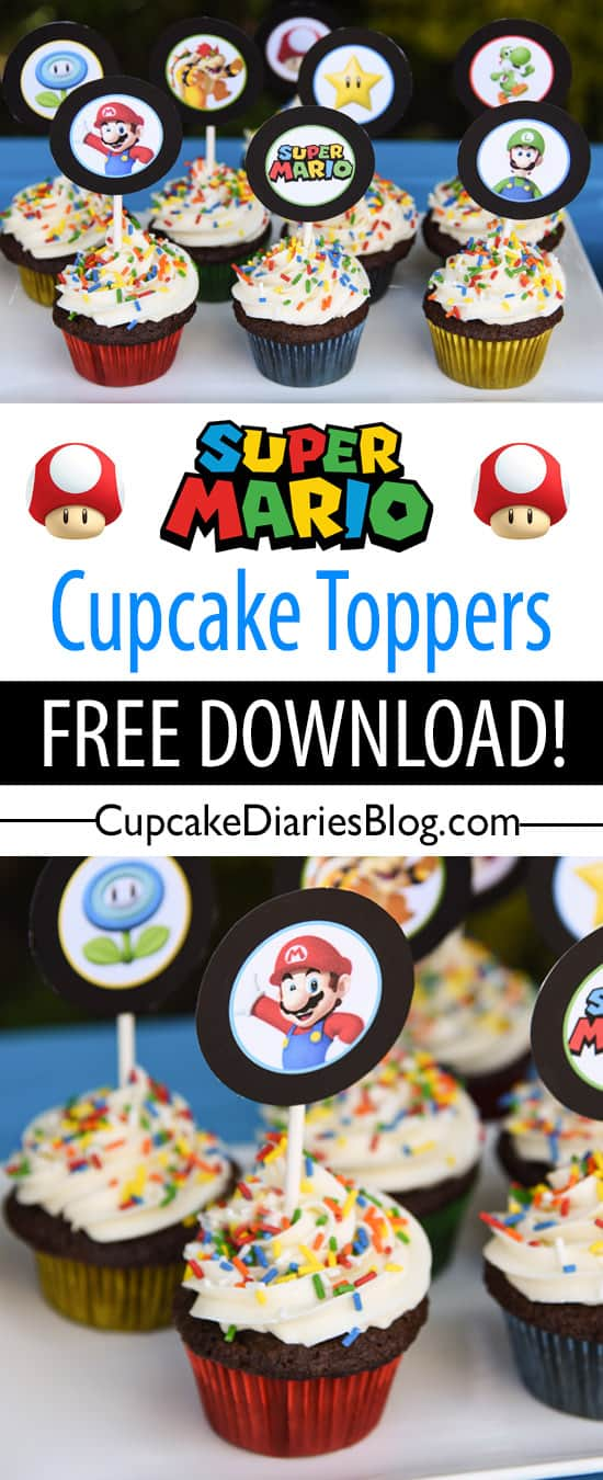 Grab these free printable cupcake toppers for your Super Mario Bros. birthday party!