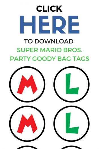 Super Mario Bros. Birthday Party Goody Bag Tags