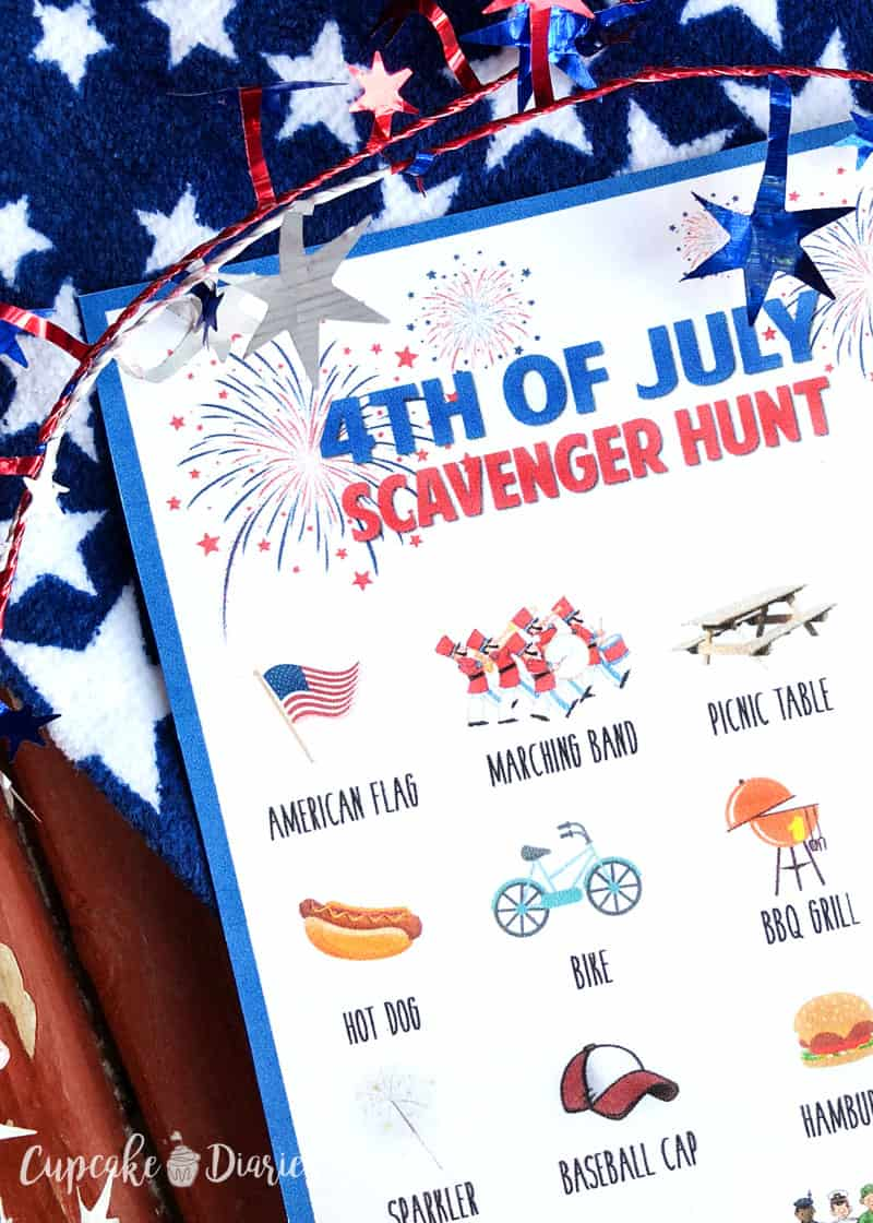 A scavenger hunt is a great way to keep the kids entertained on the Fourth of July!