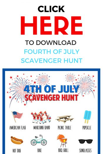 A Fourth of July scavenger hunt is so fun for the kids to do at a family barbecue or while waiting for the fireworks to start!