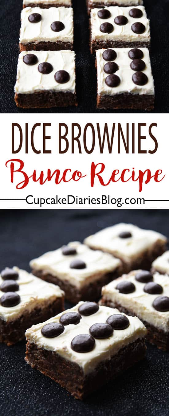 Bunco night needs dessert! Dice Brownies is the perfect recipe to serve on Bunco night.