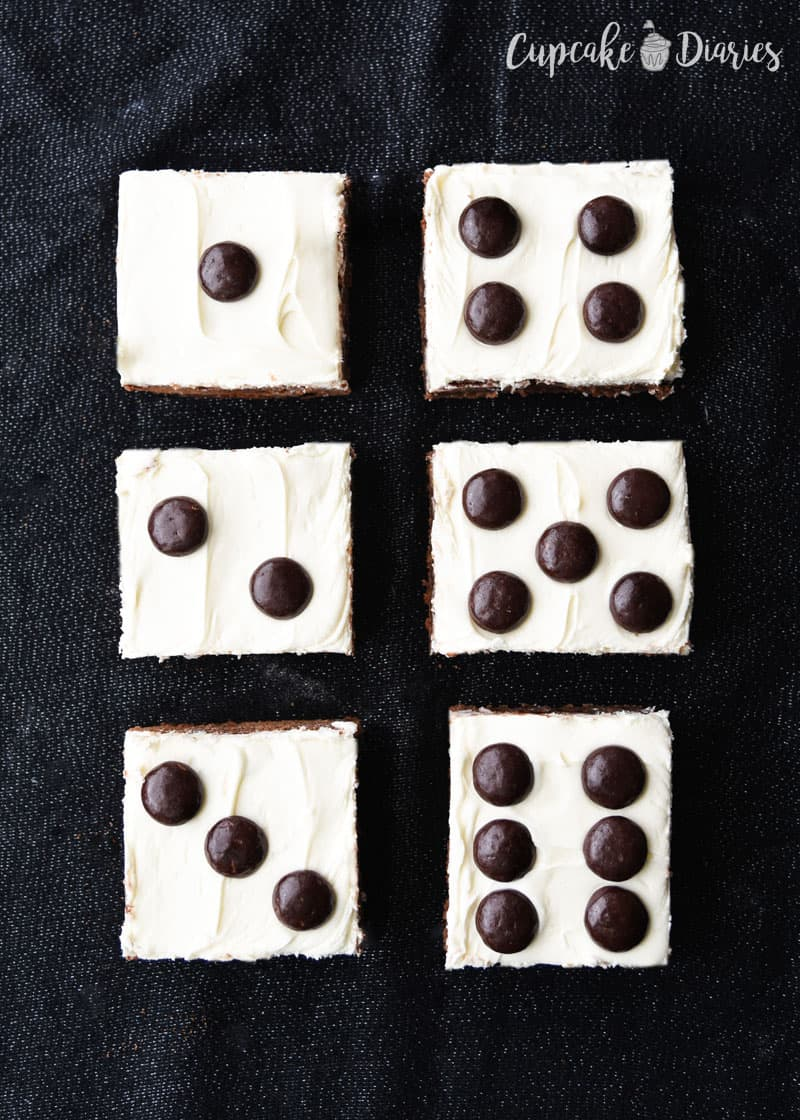 Dice Brownies are the perfect dessert recipe for a Bunco night!