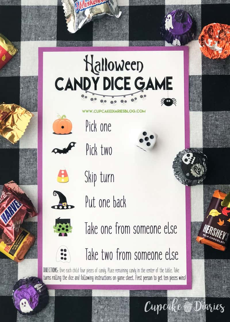 The kids will love playing this Halloween Candy Dice Game at their class party!