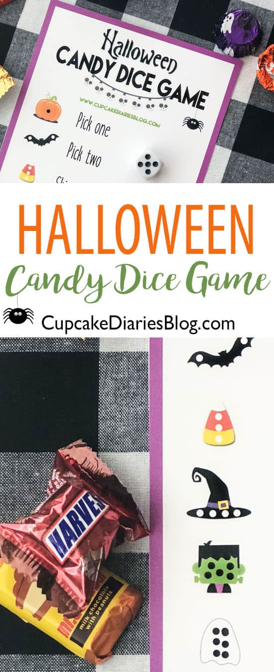 A printable Halloween Candy Dice Game for any Halloween party!