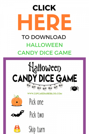 Download this FREE printable Halloween Candy Dice Game!