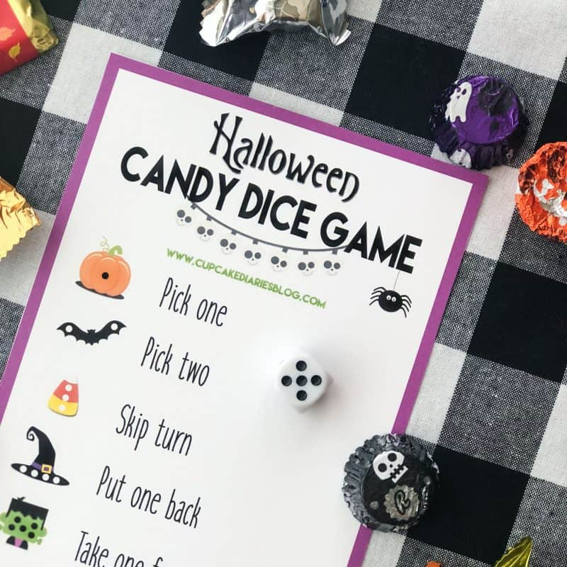 The kids (and adults!) will love playing this Halloween Candy Dice Game!