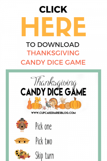 A fun and easy Thanksgiving game for kids and adults! Thanksgiving Candy Dice Game