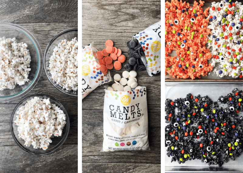 Only three easy steps to making this Colorful Halloween Popcorn!