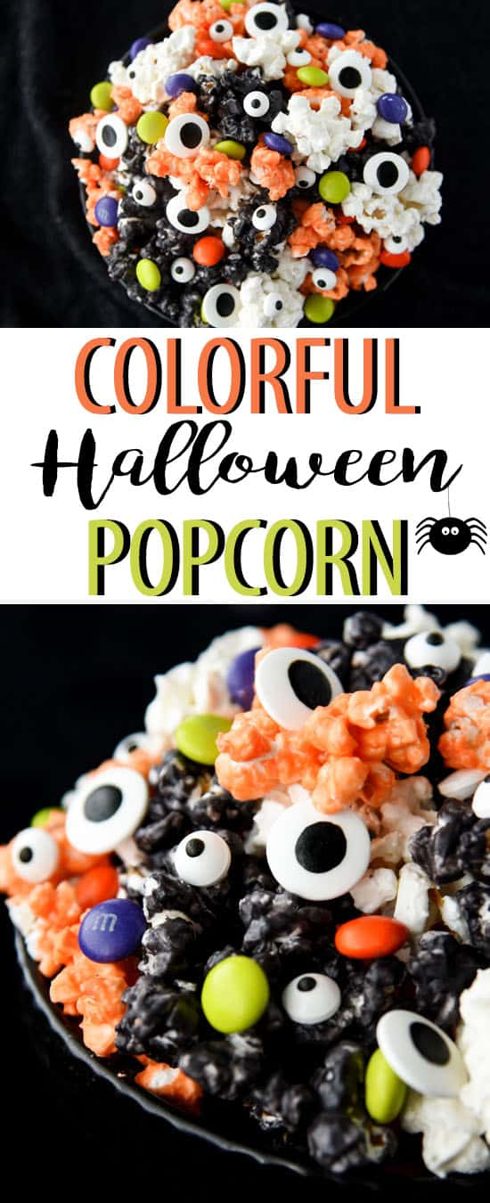 Colorful Halloween Popcorn is a great party dessert for kids and adults!