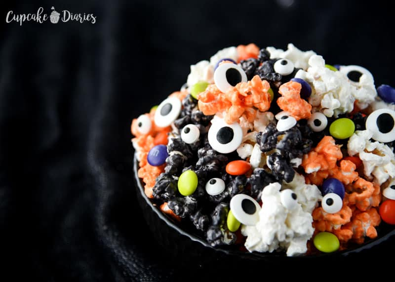 Fun and spooky Colorful Halloween Popcorn is great for a party!
