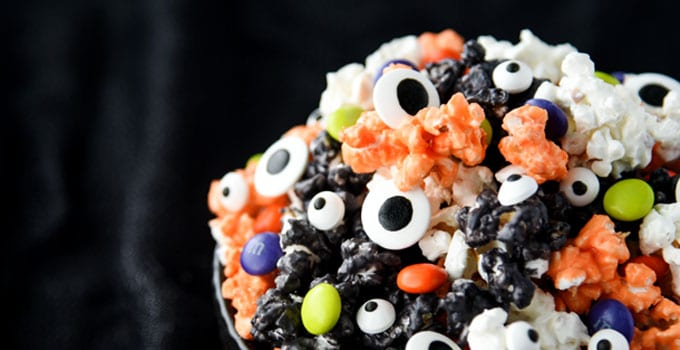 Colorful Halloween Popcorn is great for Halloween parties!