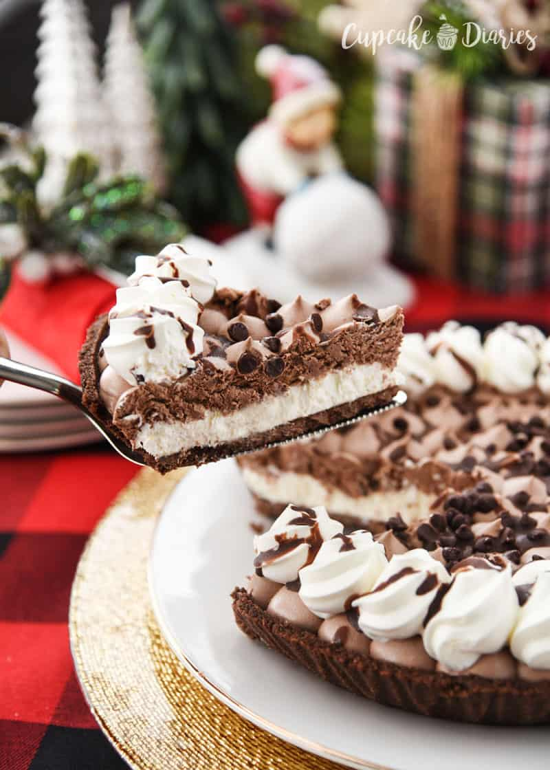 Edwards Hershey's Chocolate Crème Pie is so easy to serve at a holiday party! Just pull out of the freezer and serve!