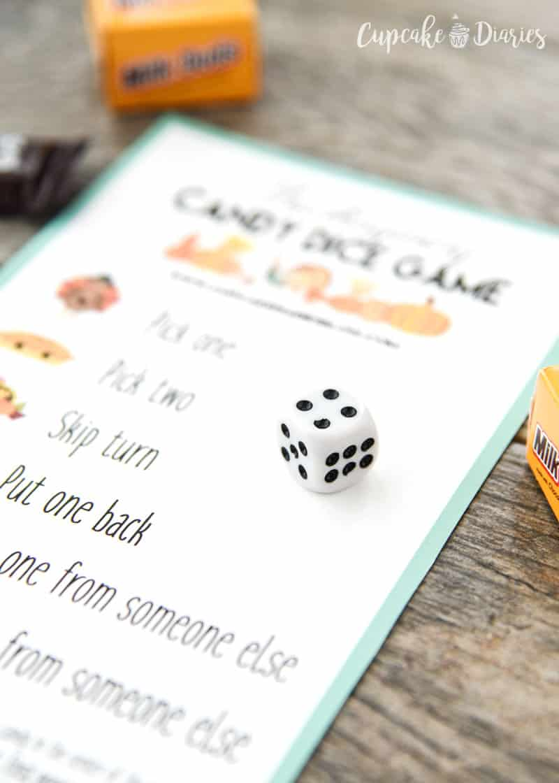 Thanksgiving Candy Dice Game for kids and adults to play this Thanksgiving!